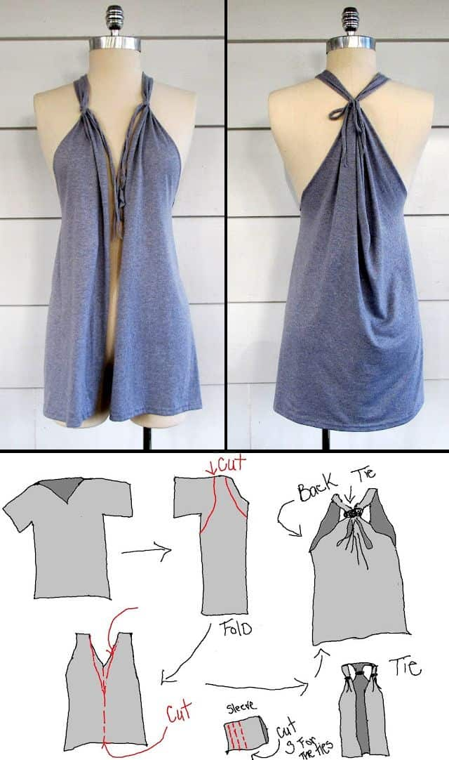 make this DIY no sew tshirt vest, makes a great beach coverup