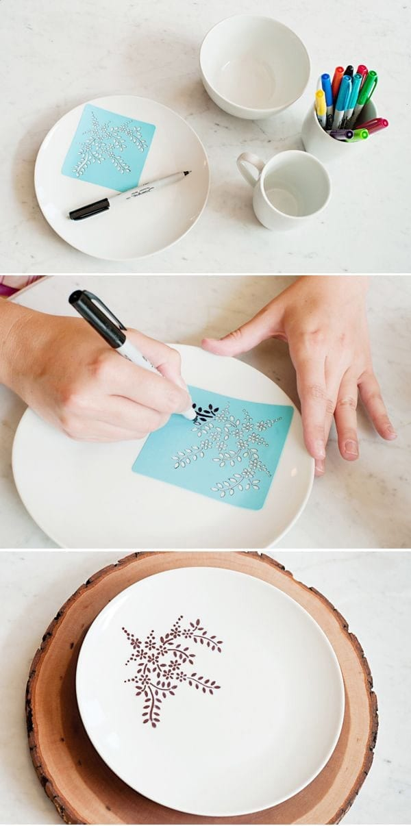 DIY beautiful stencilled plates with a sharpie pen