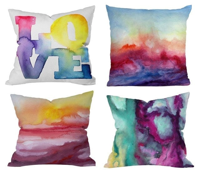 DIY Pillow Covers - Water color design made with sharpie's and rubbing alcohol