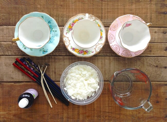 DIY Teacup Candle Tutorial - Supplies and tools required for making your own candles.