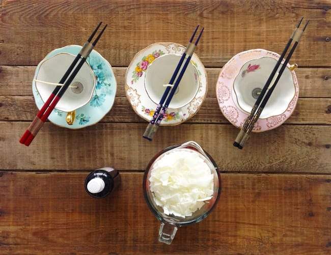DIY Teacup Candle - setting up your tools and materials. The first step is to set up your wicks in your teacups.