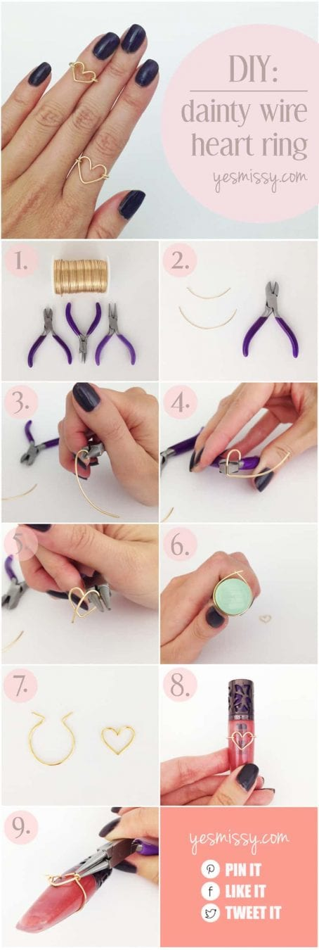 DIY wire heart ring tutorial - step by step instructions