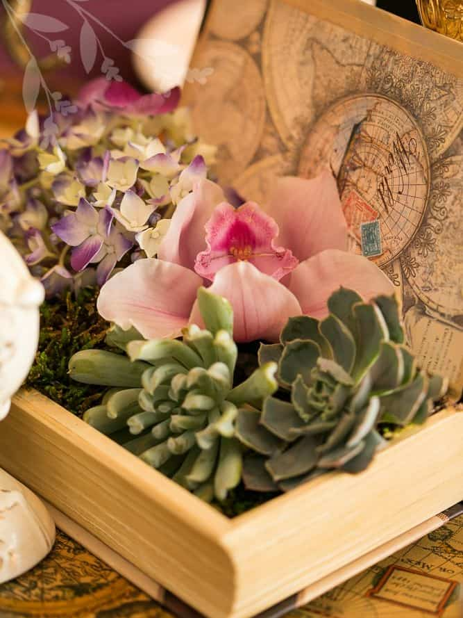 Books with Flowers - DIY Centerpieces