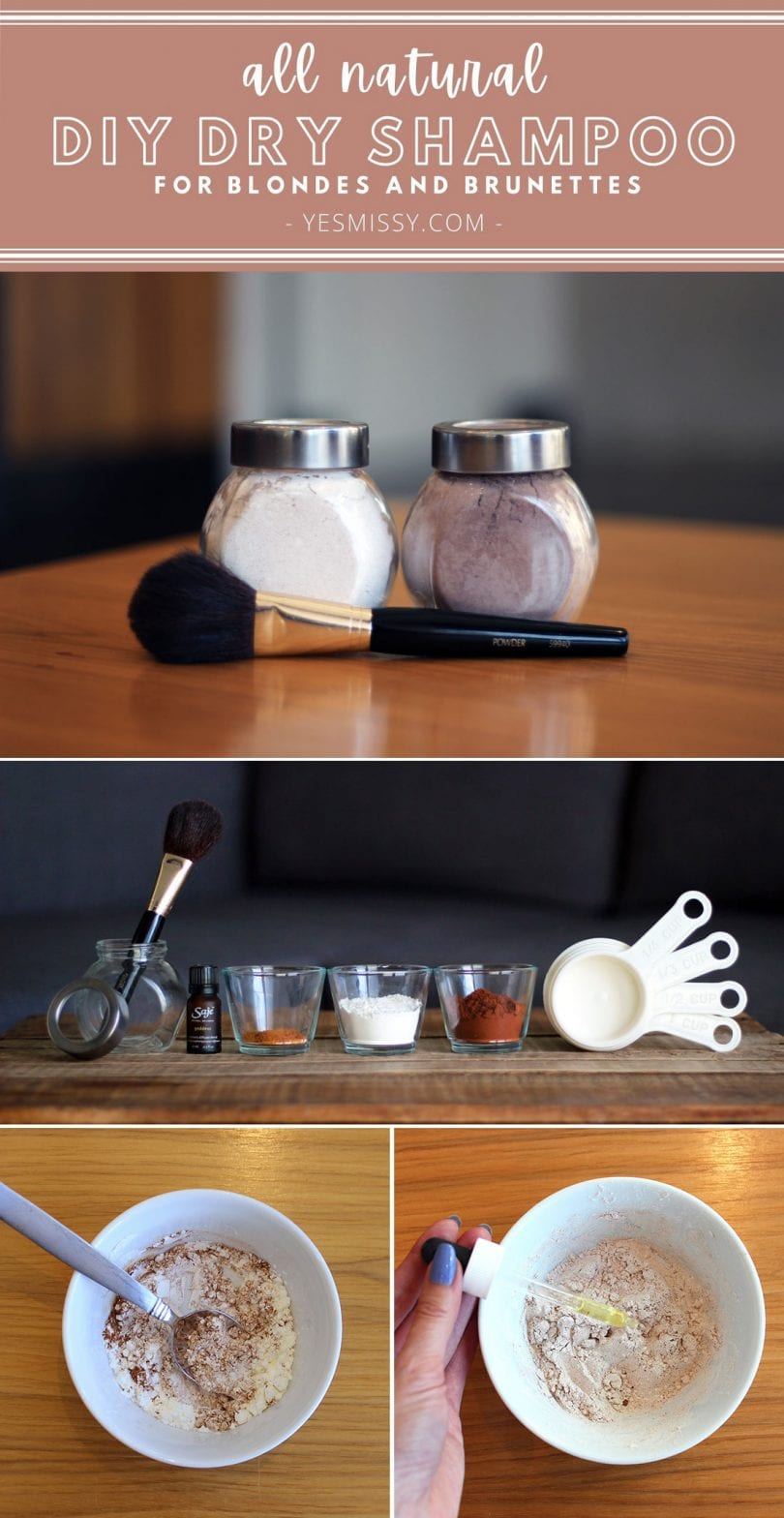 Make this all natural DIY dry shampoo. 2 forumlas for blondes and brunettes.