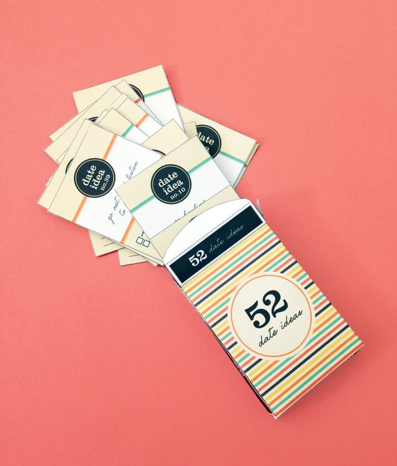 Date Ideas Card Deck - Free printable card deck for 52 fun date activities for you and your partner! Perfect gift idea!