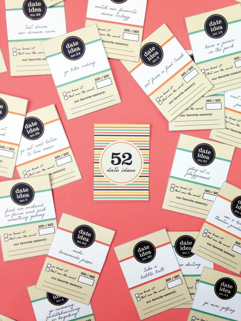 Date ideas card deck with 52 activities you can do at home, outdoors, or out on the town. FREE printable!