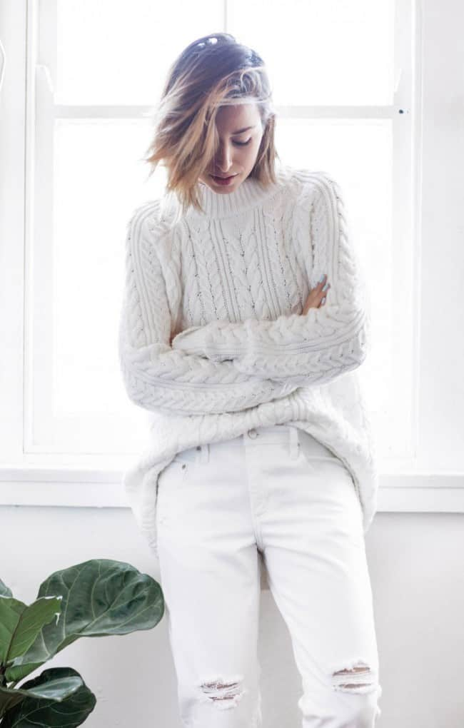 Ripped white jeans with chunky knit sweater - The Chronicles of Her