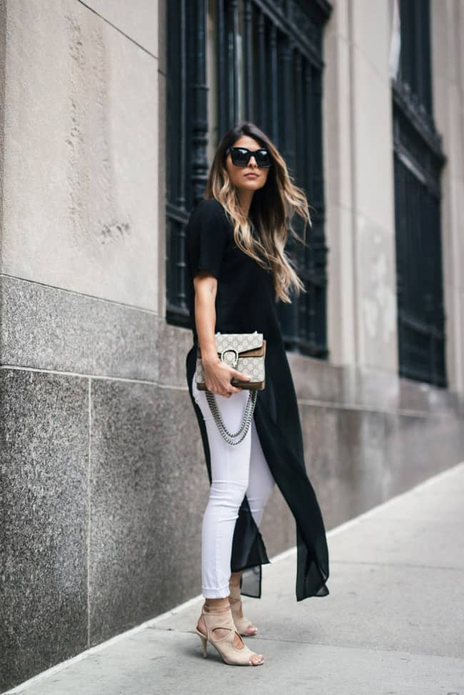 Wearing white jeans and nude shoes - the Girl From Panama