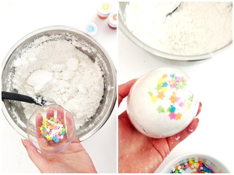 Step 5: Add sprinkles and pack into mold