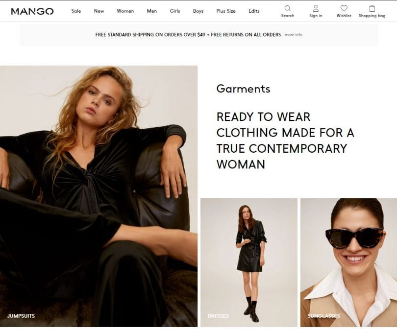 MANGO is a women's contemporary clothing website for tops, pants, dresses and suiting