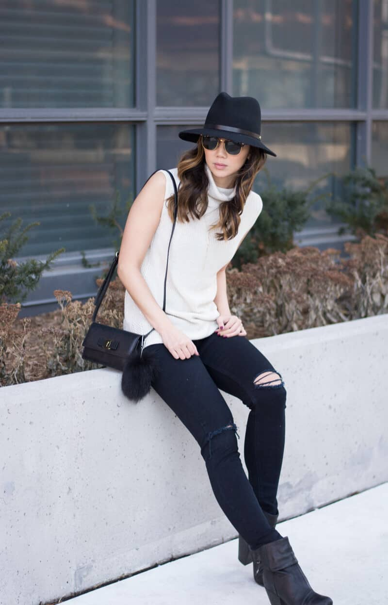 One of my fave daily looks, ripped jeans paired with a cute sleeveless sweater. Click for outfit details...