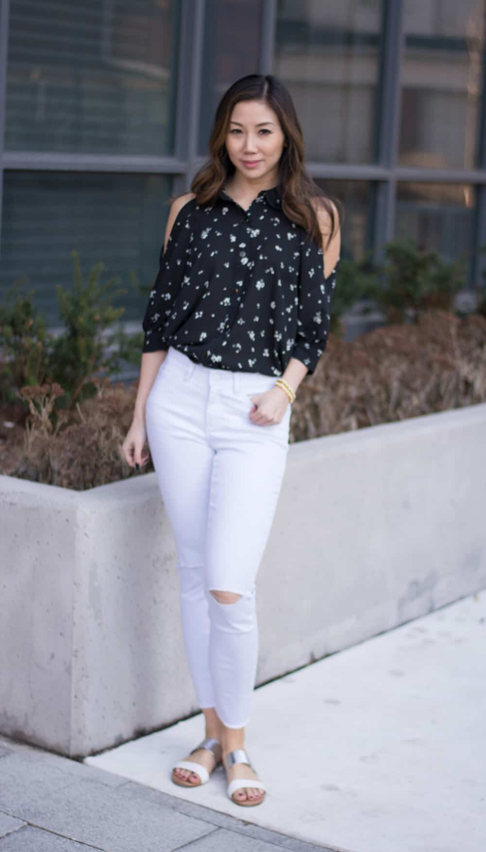 Fashion blogger streetstyle: Peek a boo shoulder blouse from LC Lauren Conrad
