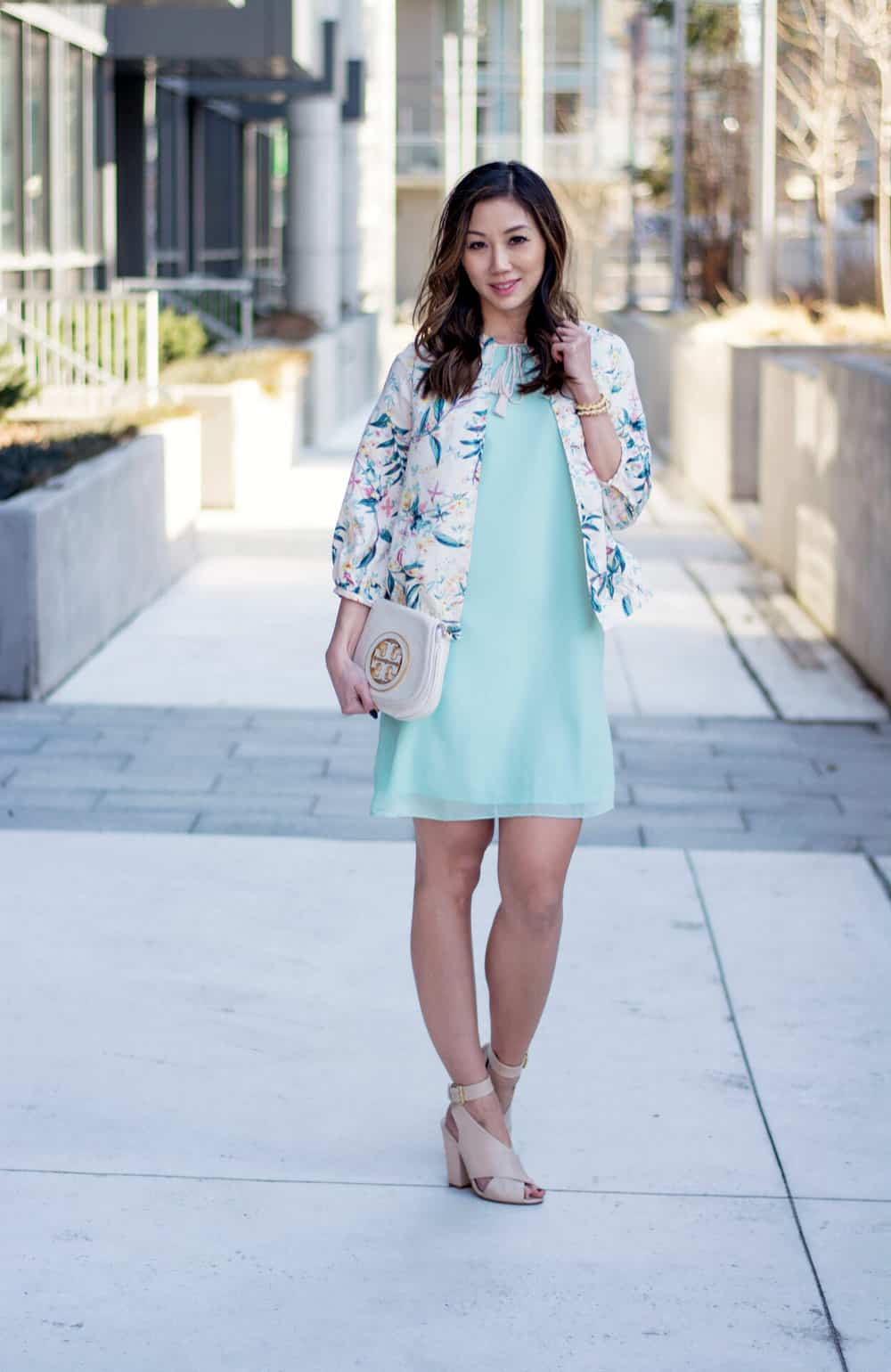 Spring streetstyle: Spring dress and floral bomber from LC Lauren Conrad Dress Up Shop