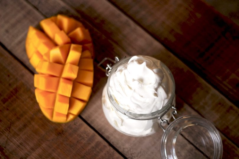DIY beauty recipe to make your own mango body butter with easy step by step instructions!