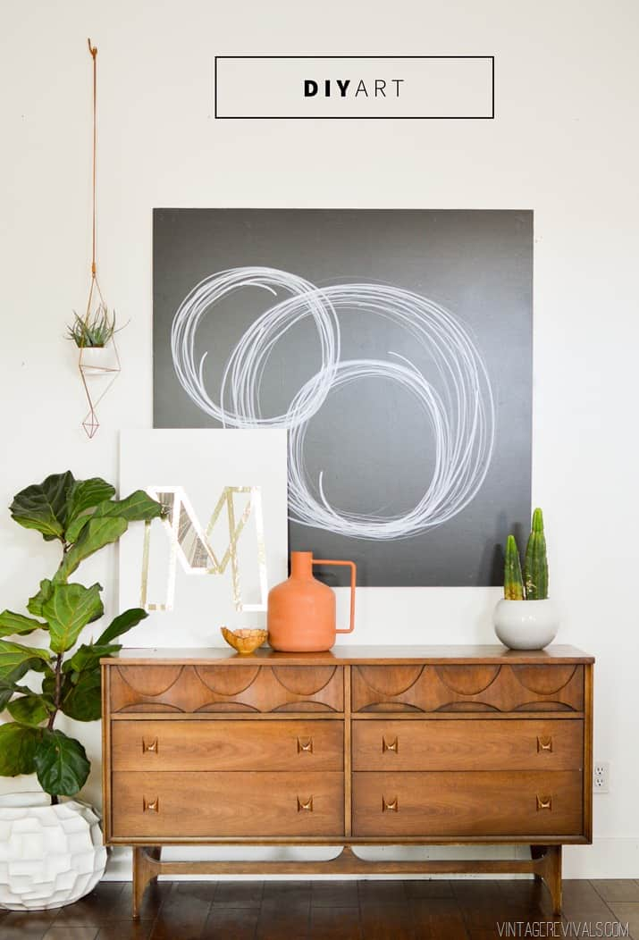 Artwork doesn't have to cost and arm and a leg. This piece of modern looking art is done with just with sharpies, a piece of wood, and paint!