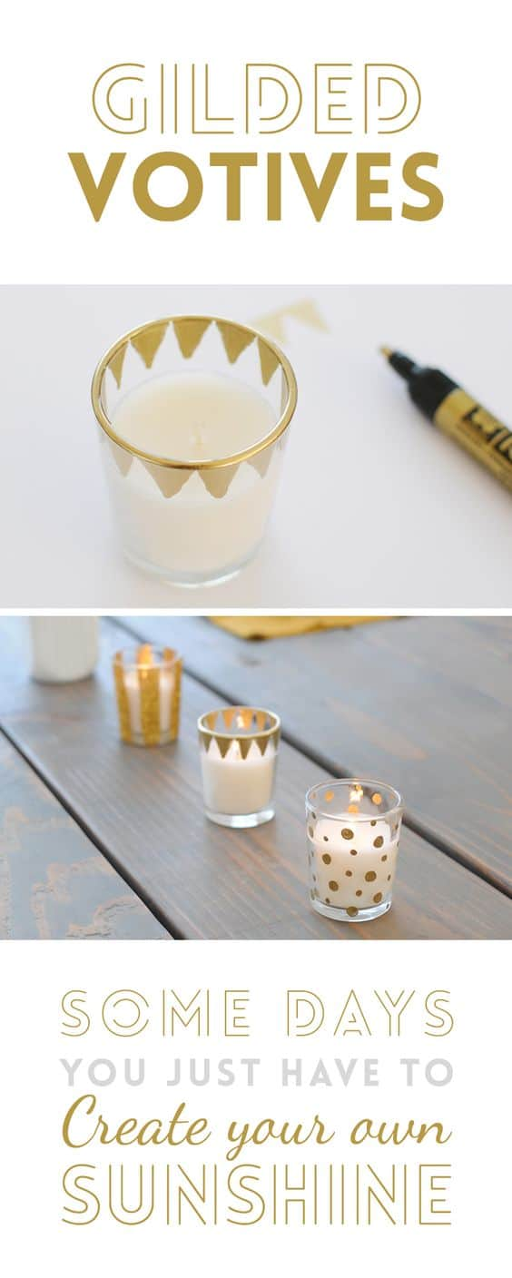 Sharpie Home Decor Ideas - Make you own patterned gilded glass votives with a gold permanent marker
