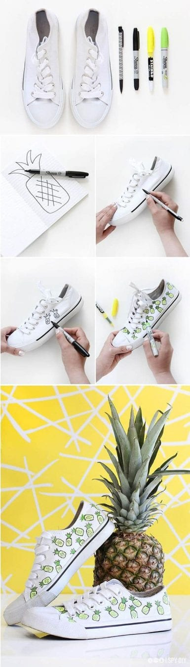 DIY Fashion Project - Update your sneakers with a fun pineapple print!