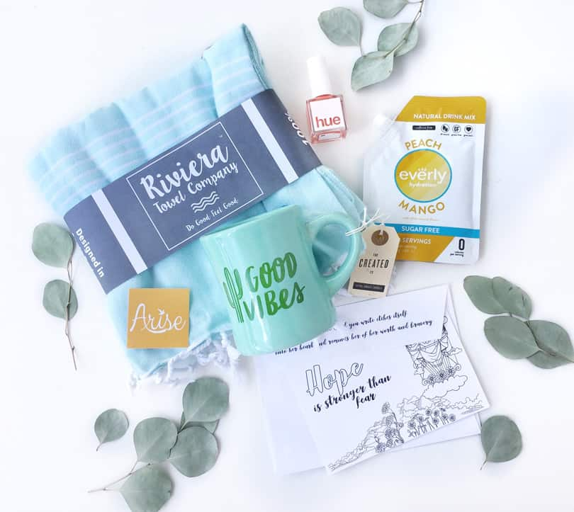 The summer box does SO MUCH good! Your summer Arise Box fights trafficking, provides nutrition to kids, protects ocean life, provides clean water and builds a care package for a survivor! #Purchasewithpurpose