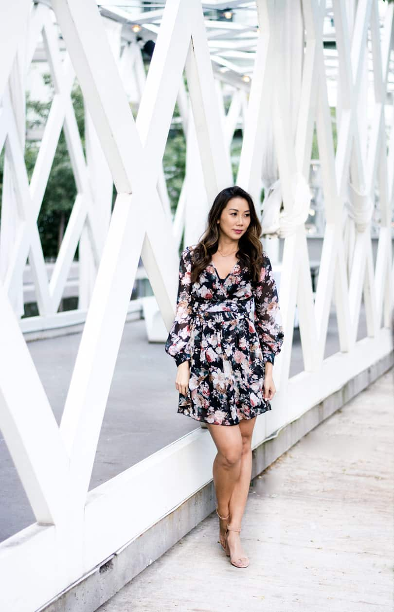 This pretty floral print dress is great to wear in the spring, summer and fall.