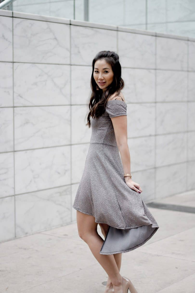 Holiday Party Dress: silver OTS dress with high low skirt, Toronto Streetstyle - YesMissy