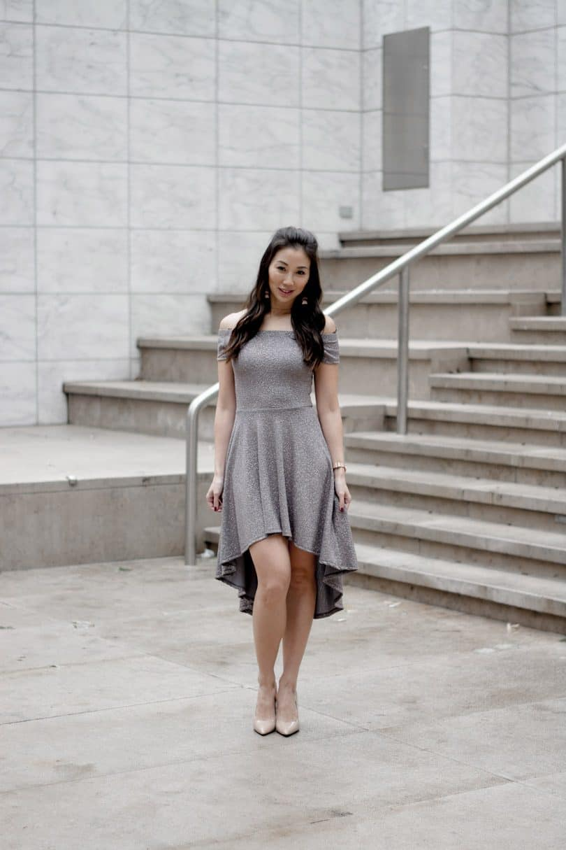 Silver OTW dress with high low skirt from Windsor, fashion blogger YesMissy