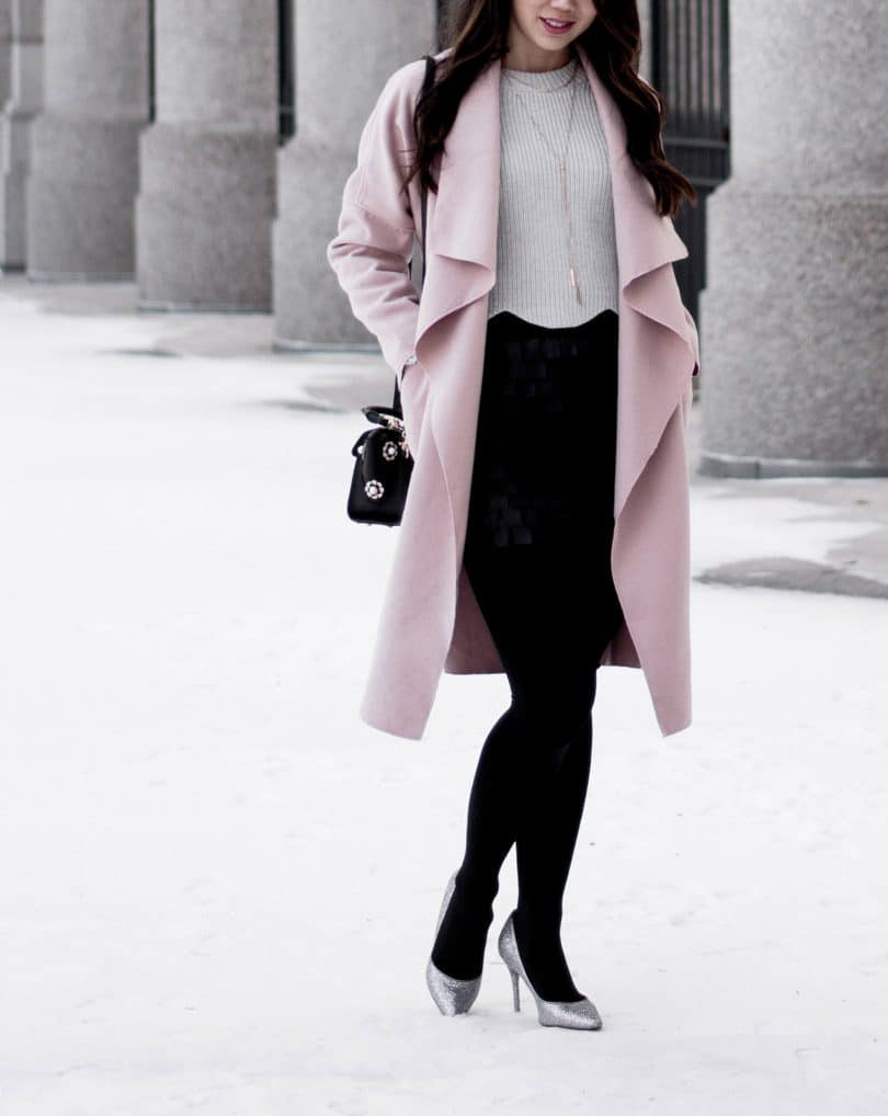 Winter outfit ideas: Pink coat, grey sweater, tights and sparkly shoes. full outfit details on yesmissy.com