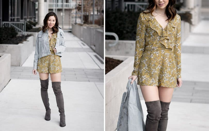 OOTD style: summer look with yellow floral romper from Boohoo