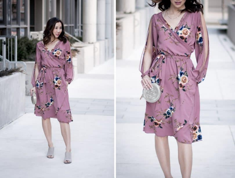 OOTD: Pink floral dress for spring from Boohoo