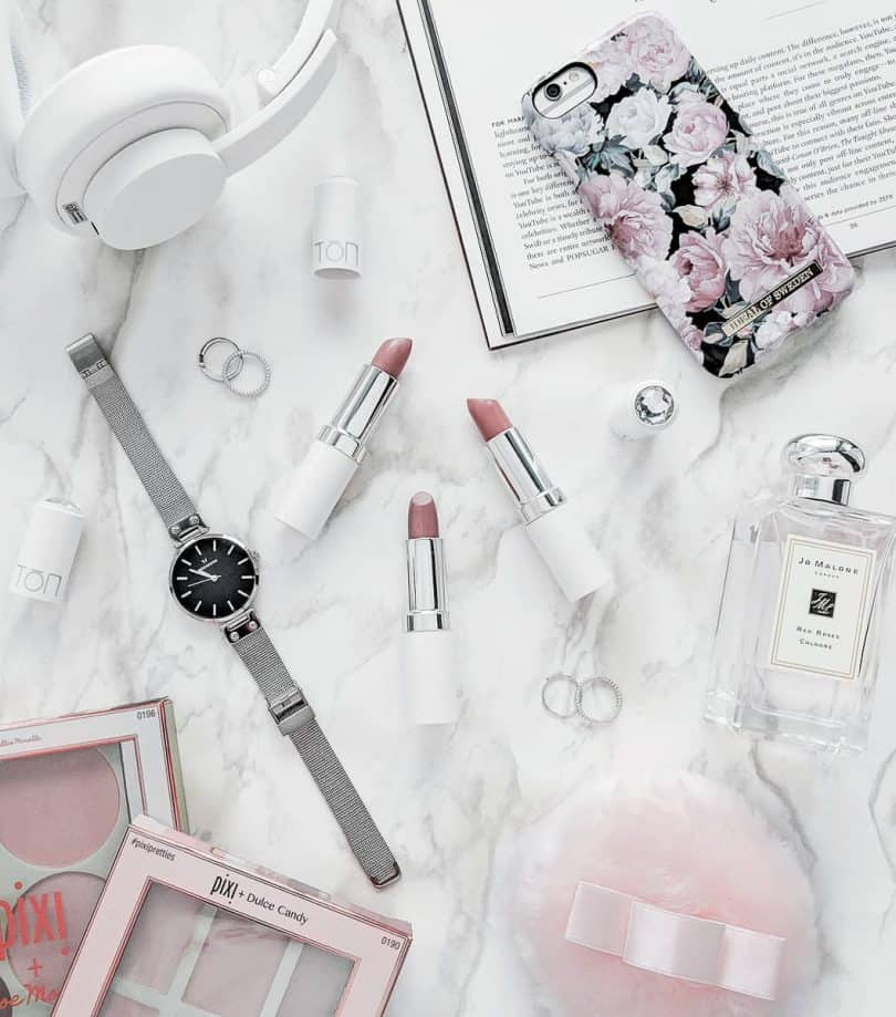 Beauty Flatlay - TON cosmetics, Ideal of Sweden, Pixi, Jo Molone and more