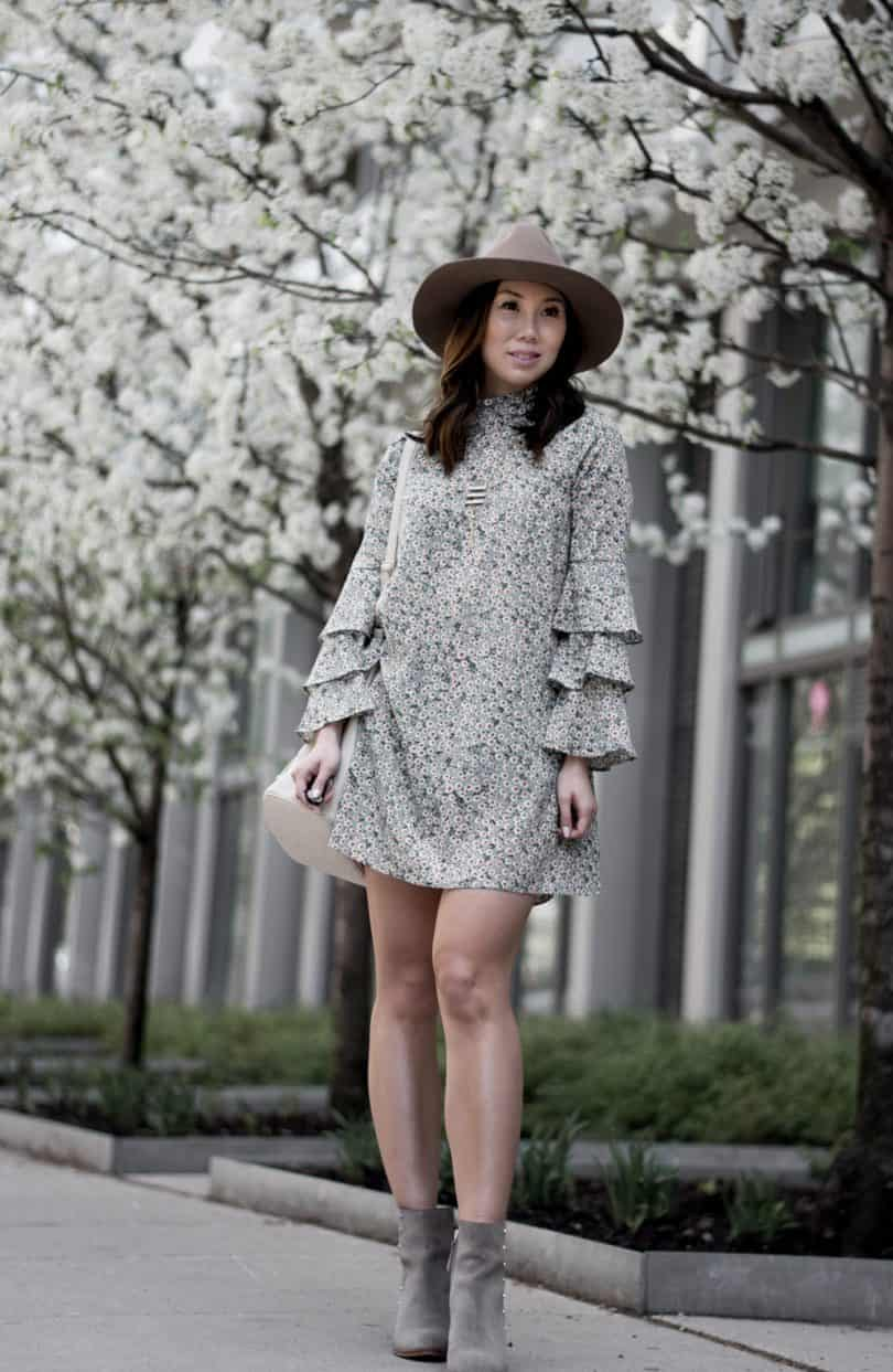 #Spring #OOTD: layered sleeve daisy print floral dress, suede ankle boots and brown hat