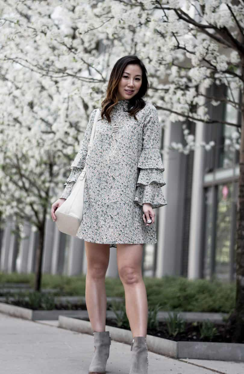 Green floral dress with grey ankle boots