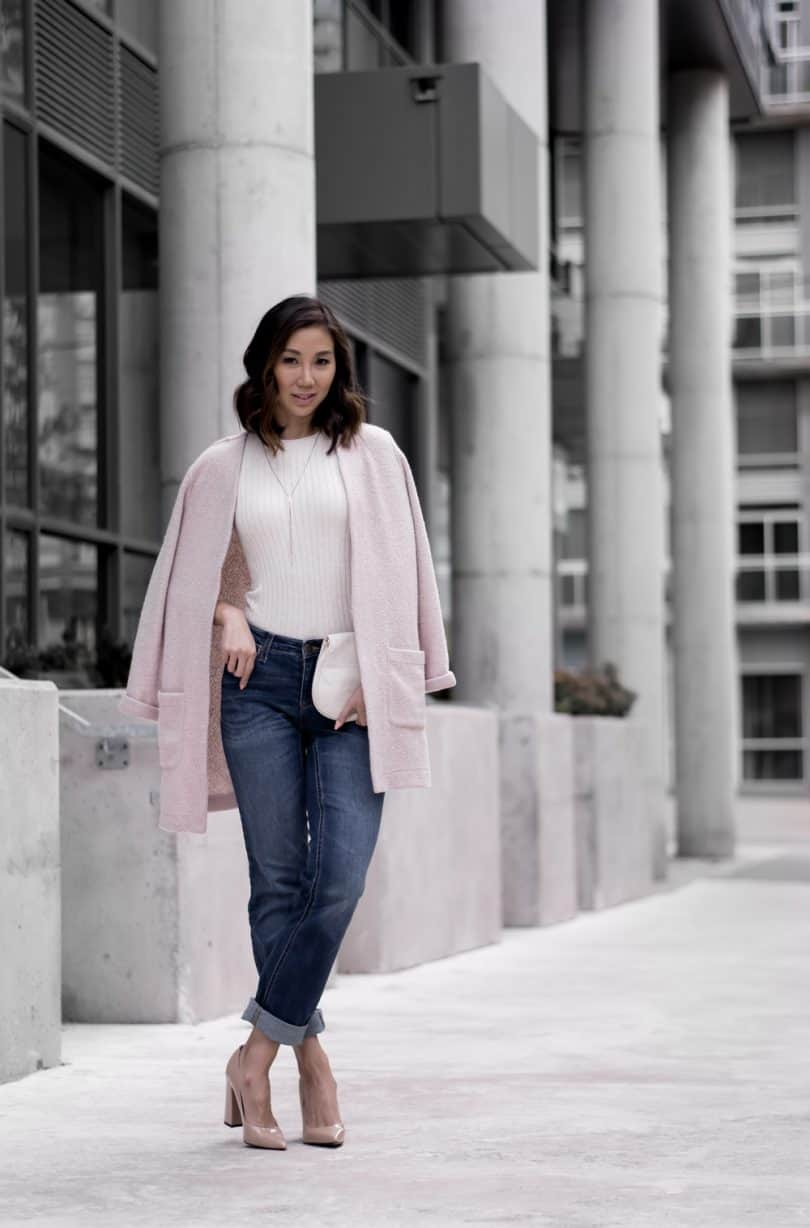Casual look: rolled up denim, pink sweater, nude pump... Toronto Style Blogger YesMissy