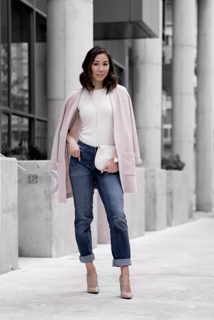 Look #1: Rolled up denim with long pink cardigan, nude pumps, white clutch