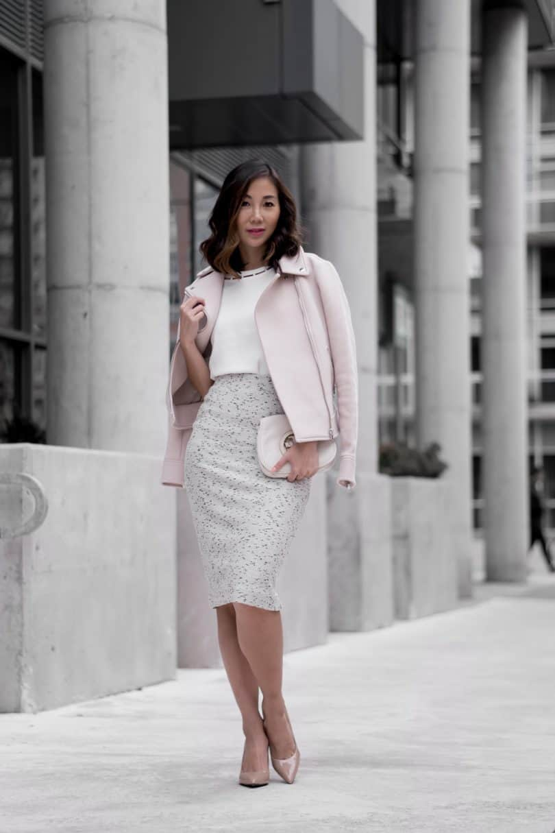 Workwear Style: pink moto jacket, pencil skirt and white blouse from Ann Taylor