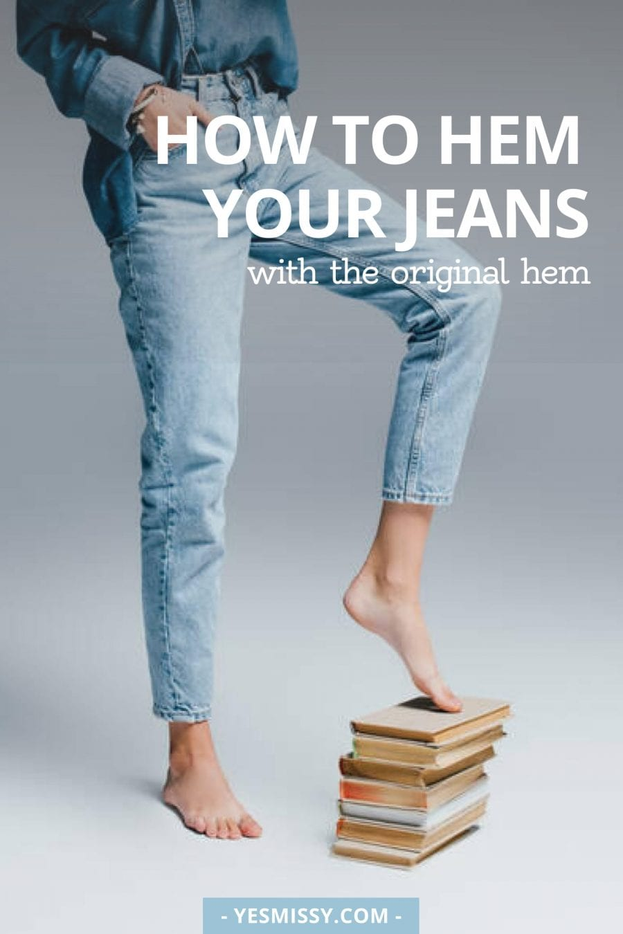 DIY tutorial - Learn how to hem your jeans to the correct length and with the original hem.