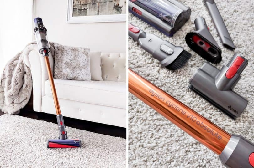 The Dyson Cyclone v10 is powerful and versatile cordless vacuum. It has a more powerful motor, a more efficient battery, and a larger bin than the preceding V8