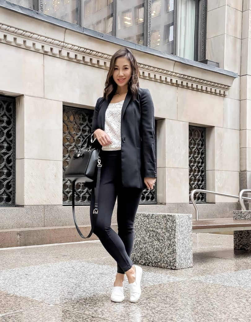 Casual workwear outfit in navy
