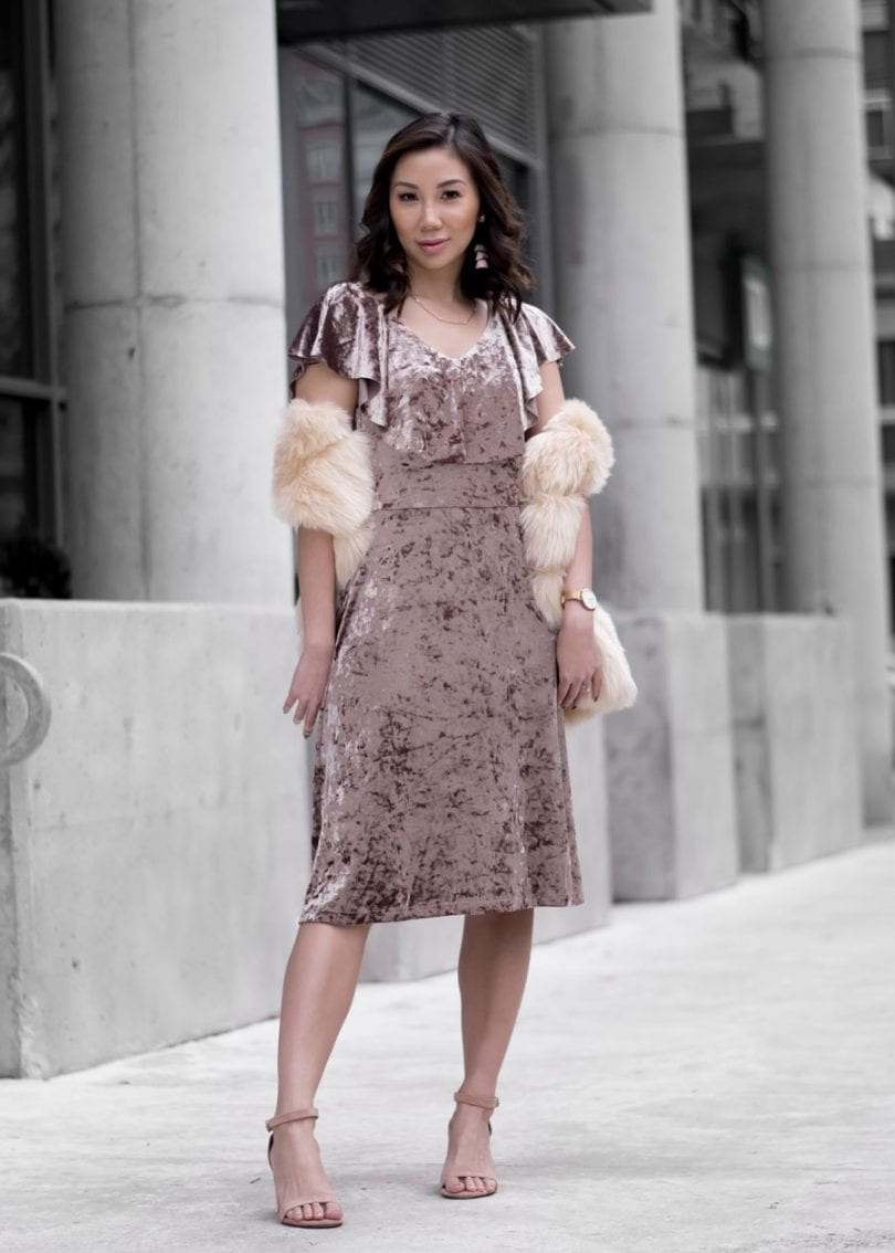 OOTD: Pink velvet dress and faux fur (Canadian style blogger - yesmissy)