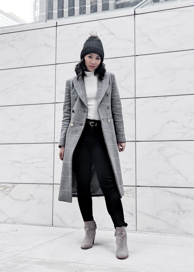 Toronto Streetstyle - Blogger YesMissy: Checkered wool coat Club Monaco, Parajumpers Beanie, Citizens of Humanity Jeans, grey booties
