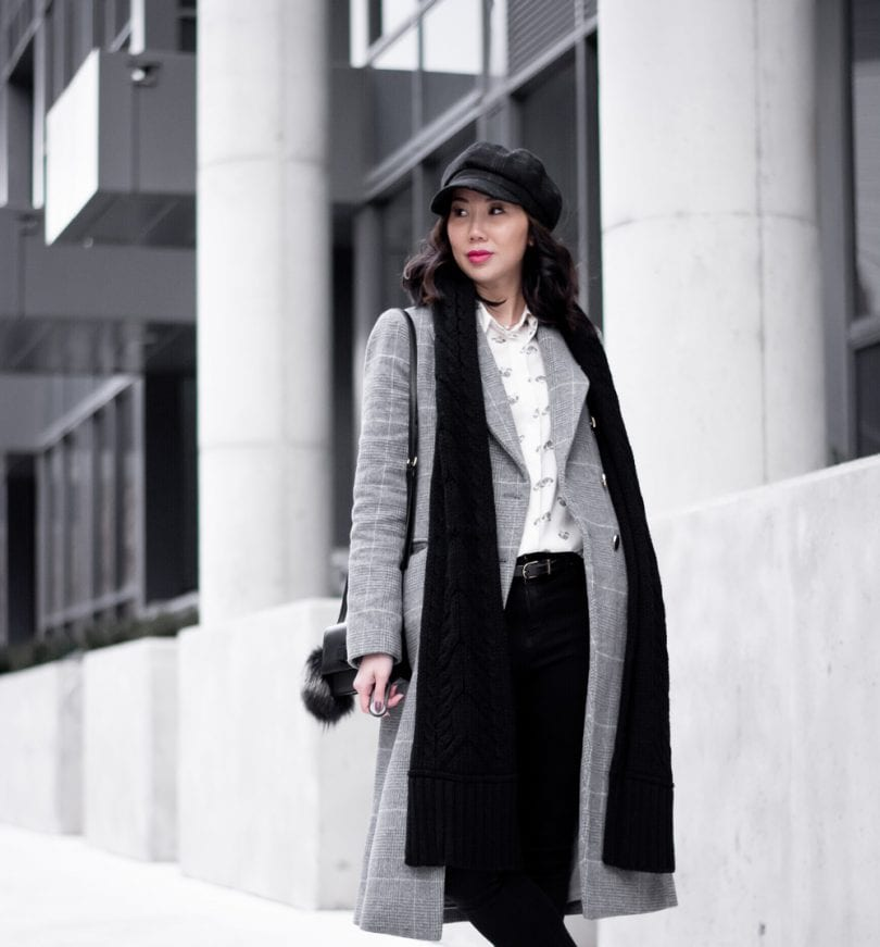 Winter outfit idea - checkered coat, chunk scarf and hat