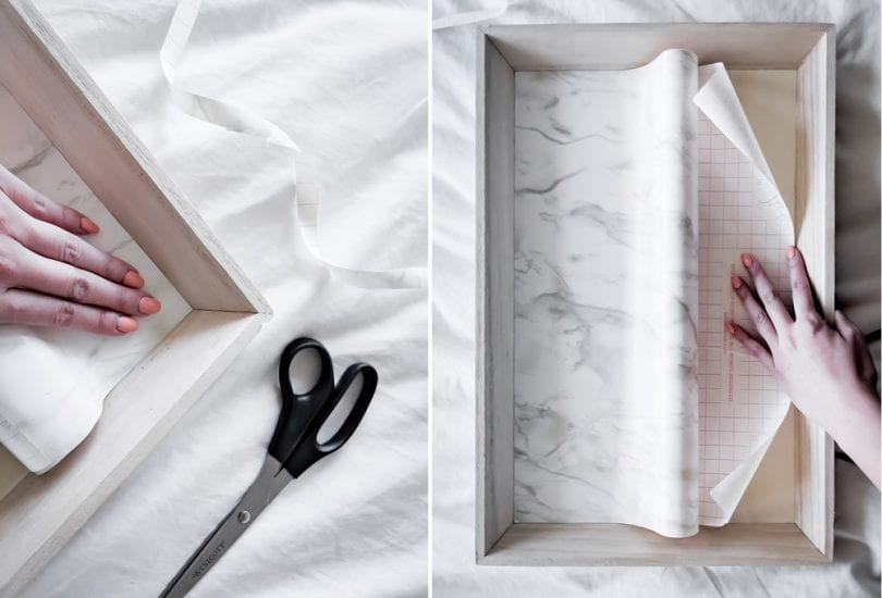 DIY Tray Tutorial Step 2 - cut contact paper and apply to tray
