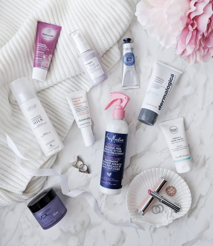 Skincare products for dry hands, face and body