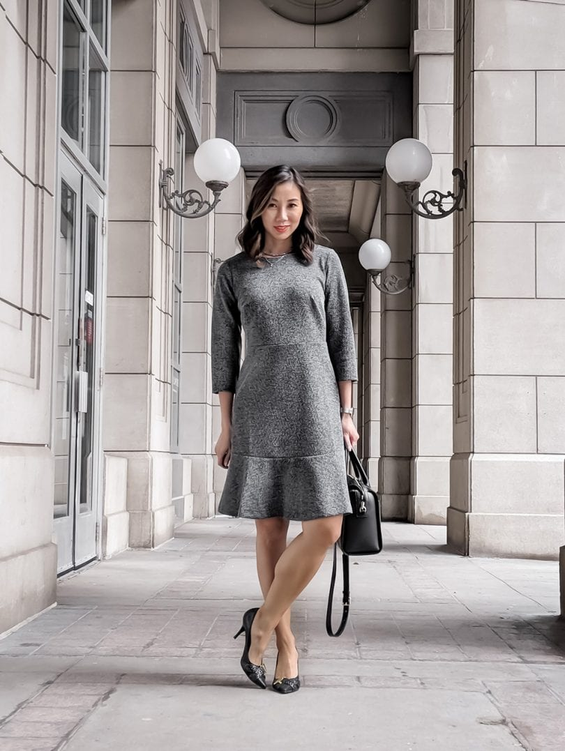 Workwear outfit - grey dress from Ann Taylor