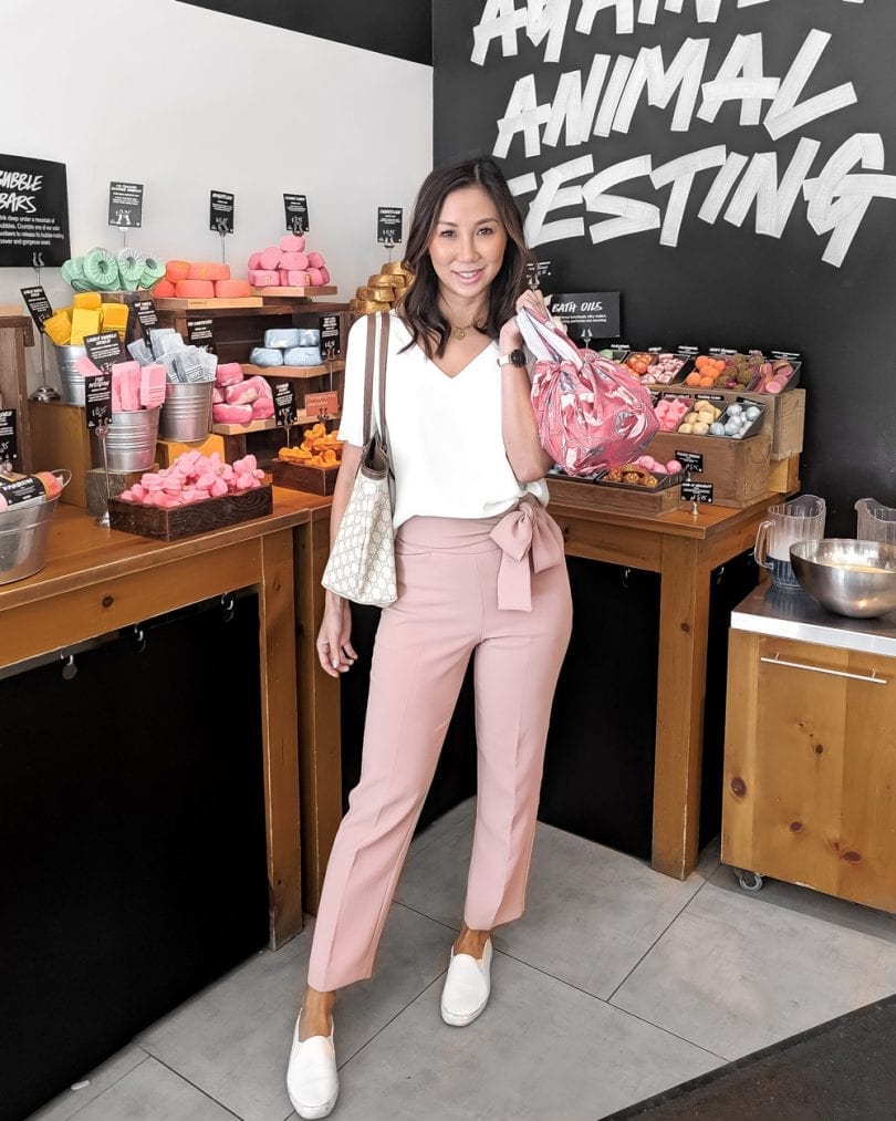 OOTD - pink pants and white top, Lush Cosmetics