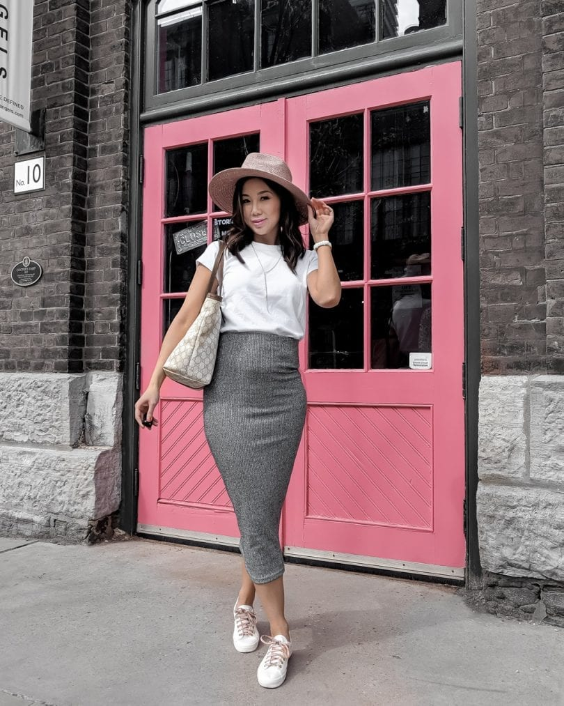 Casual Outfit Ideas - Grey pencil skirt and white tee, pink fedora and sneakers