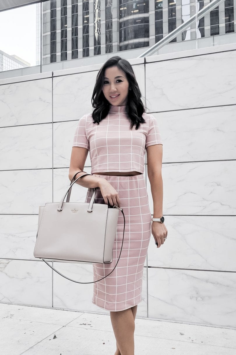 summer outfits - Pink checkered coord set