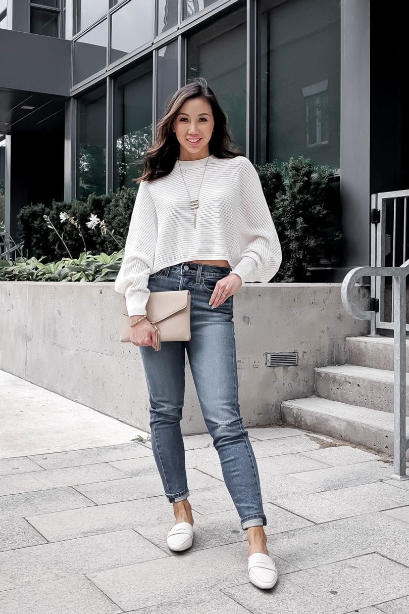 Loafers and mules are a staple shoe for any wardrobe. They can easily step up a casual look. Wearing loafers with jeans and a sweater looks so much more pulled together!