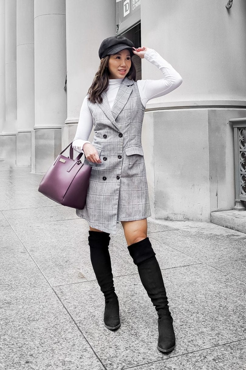 Workwear Office Look - checkered dress, black over the knee boots - #Fall Outfit Ideas