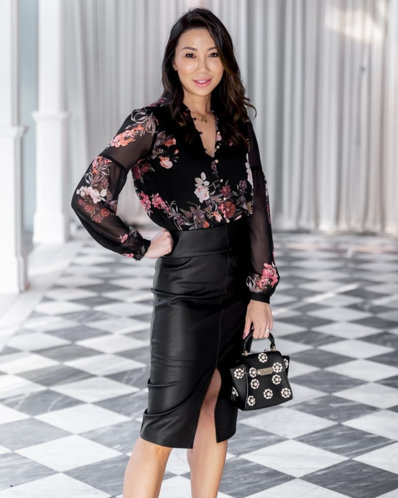 #OOTD - floral top and black leather pencil skirt, #workwear #lotd #Evernew #Forevernew