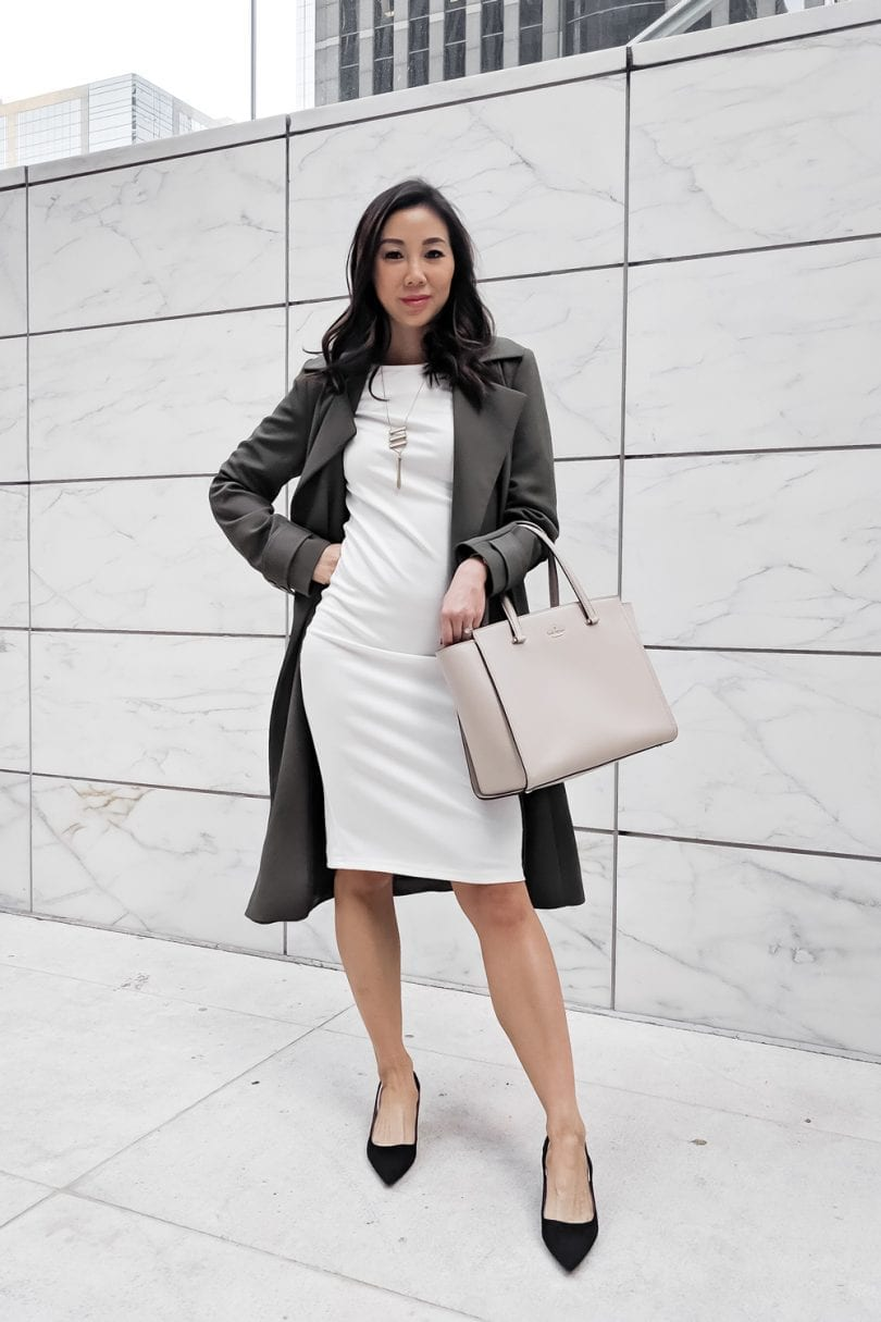 Professional Officer OOTD - white shift dress and green trench coat, Zara shoes #Zara #fall #OOTD #Oufitinspiration